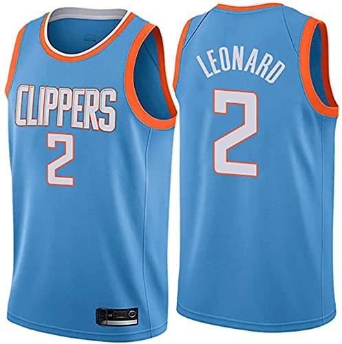 jiaju Ropa Baloncesto para Hombre NBA Jersey Clippers 2# Leonard Retro 2021 Transpirable Secado rápido Resistente al Desgaste Vestima sin Mangas Top para Deportes, Azul, S