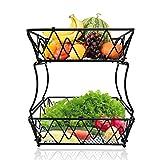 Fruit Basket Display Stand, 2-Tier Metal Countertop Fruit Basket Bowl Holder Kitchen Storage wire basket for Vegetable Fruit Bread Display Decorative