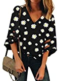 LookbookStore Women's Casual Cute V Neck Mesh Panel Blouse 3/4 Bell Sleeve Loose Top Flowy Lounge Shirt Daisy Floral Printed Black Size XX-Large