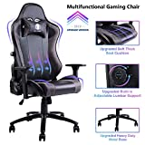 VON RACER Gaming Chair with Adjustable Built-in Lumbar Support - Big and Tall Ergonomic Racing Computer Chair High-Back Leather Office Desk Chair w/Metal Base, Black