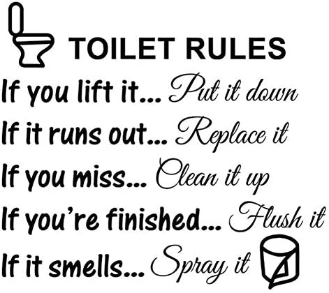 PVC Toilet Rules Bathroom Decals Removable Wall Quotes Stickers Vinly Art Decor Home Decorations product image