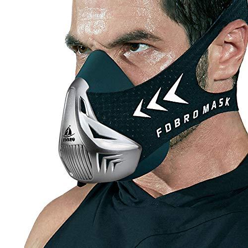 FDBRO Trainingsmaske Workout Maske- - High-Altitude-Endurance-Maske erhöht die Kraft, Laufwiderstand Atemmaske mit Tragetasche (Silber & Schwarz, M)