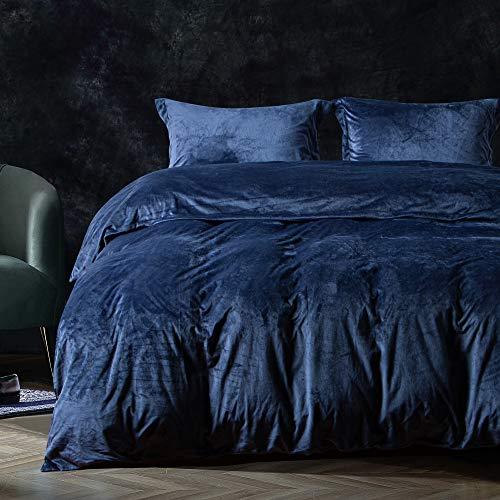 FLXXIE Velvet Duvet Cover Set, 3 Pieces Luxury Ultra Soft Zippered Flannel Comforter Cover Set, Navy Blue, Queen
