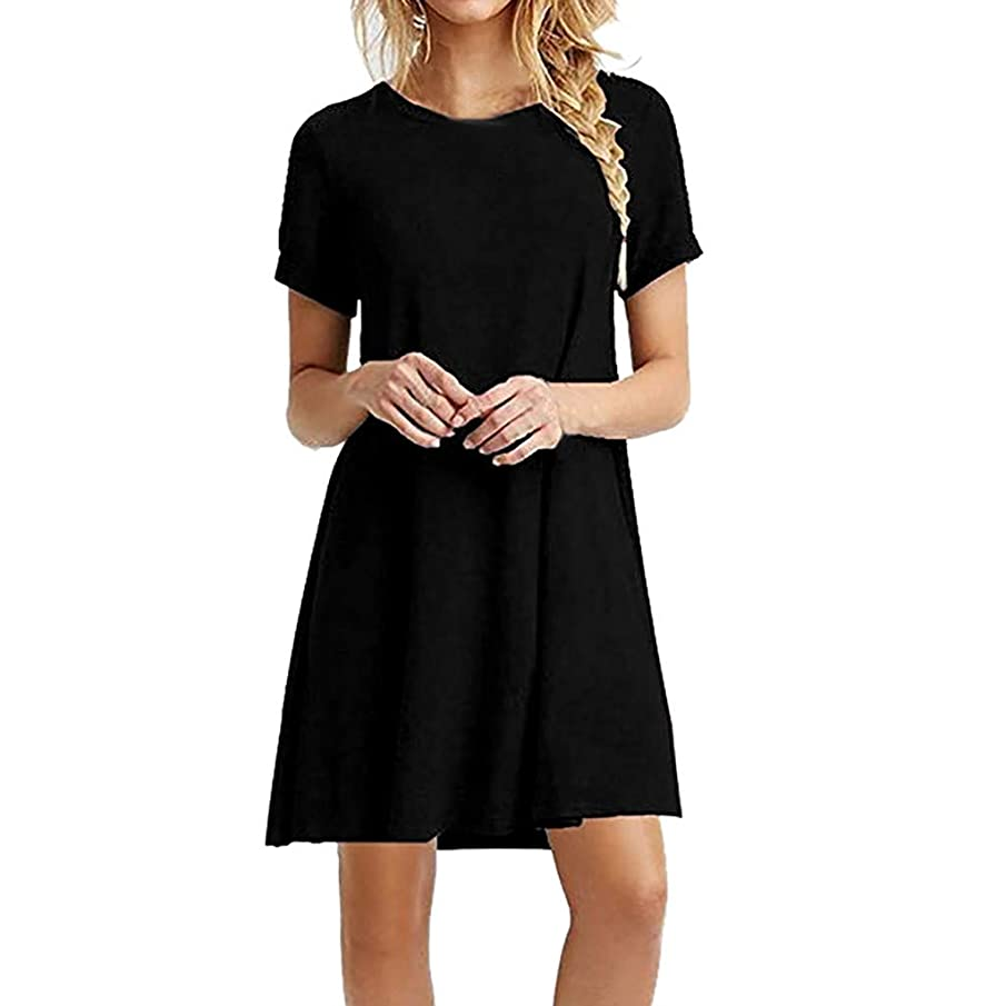 Women's Summer Casual Solid T Shirt Dresses Pleated Loose Swing Simple Tunic Dress with Pockets Knee Length