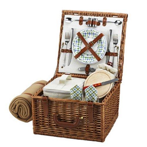 Picnic at Ascot Original Cheshire Picknickkorb aus Weide im englischen Stil mit Service für 2 und Decke - in den USA entworfen, montiert und qualitätsgeprüft
