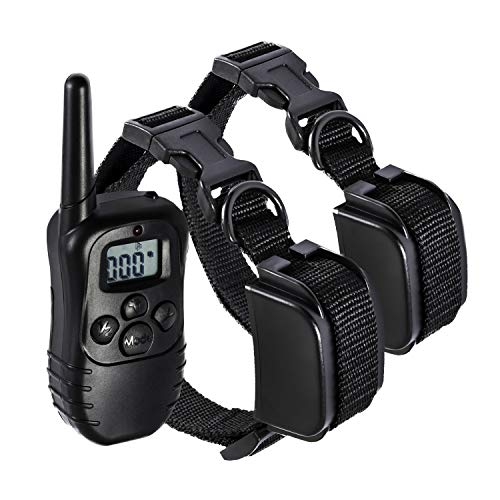 Paws & Pals Shock Collar for Dogs - Safe w/Adjustable Intensity, Waterproof, Electric Re-Chargeable Best for S/M/L/X-Large Dog Bark Remote Control Training Collar   Up-to 330 Yards, LCD, 100LV, 2 Pack