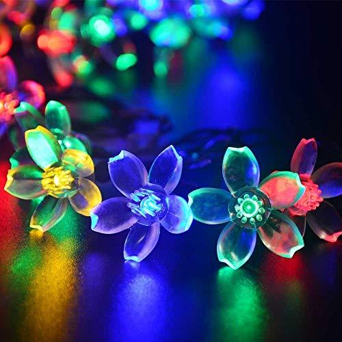 Mixtooltoys Solar-Blumen-Lichterkette, Farbwechsel, Weihnachtsdekoration, 50 LEDs, Lotus-Lichter, Kirsche, Dekoration für Zaun, Party, Terrasse, Garten, Zuhause, Hochzeit