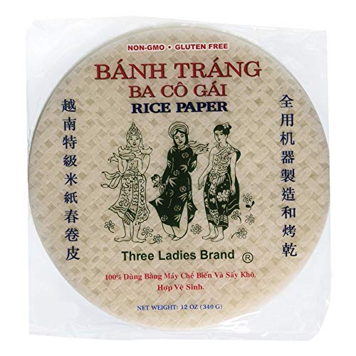 Three Ladies Banh Trang Spring Roll Rice Paper Wrappers Round, 22cm