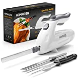 Homaider Electric Knife for Carving Meat, Turkey, Bread & More. Serving Fork and Carving Blades Included