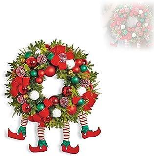 Hengyuan 2021 Grinch Christmas Thief Wreath -Front Door Garlands Decorative Hanging Ornaments, Funny Novelty Plush Legs Bu...