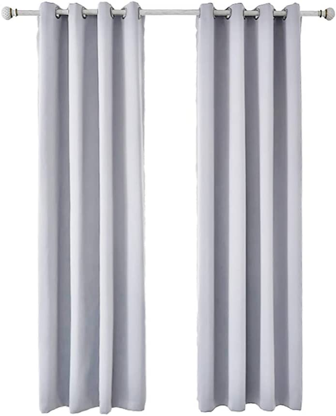 BOYOUTH Solid Color Blackout Curtains,Room Darkening Thermal Insulation Curtains and Drapes with Grommets for Living Room,Bedroom,2 Panels,55 x 95 Inches,White Gold