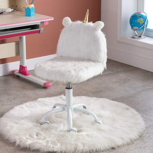 Wahson Kinderdrehstuhl Schreibtischstuhl Bunte Kunstpelz Weiche Jugenddrehstuhl Höhenverstellbarer Freizeitstuhl/Computer Stuhl für Kinder (Weiß)