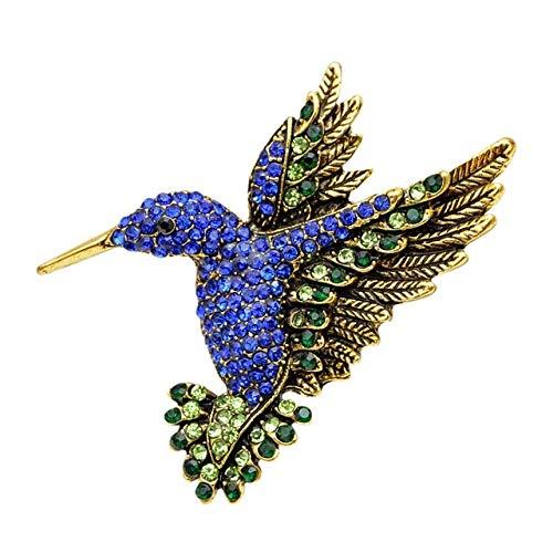Blue Color Rhinestone Hummingbird Brooches Vintage Fashion Animal Pins