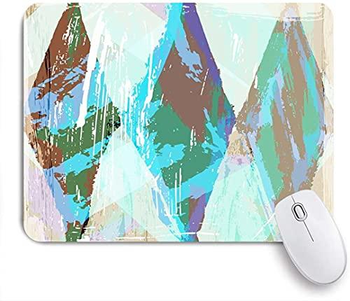 HARXISE Alfombrilla Gaming,Pinturas de Arco Iris Trazos Abstractos Salpicaduras de Color púrpura Cuadrado Óleo Blanco Líneas geométricas Diseño Trapecio,con Base de Goma Antideslizante,240×200×3mm