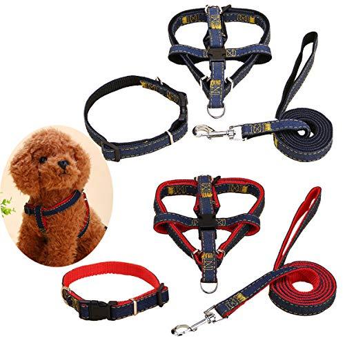 DBAILY 2 Juegos de Correas para Perros Negro Rojo Incluir 2pcs 120 cm * 2 cm Correa de Perro con Cuerda+2pcs Arnés para Perros+2pcs Collar de Perro Mascota para Perros Pequeños Medianos Grande