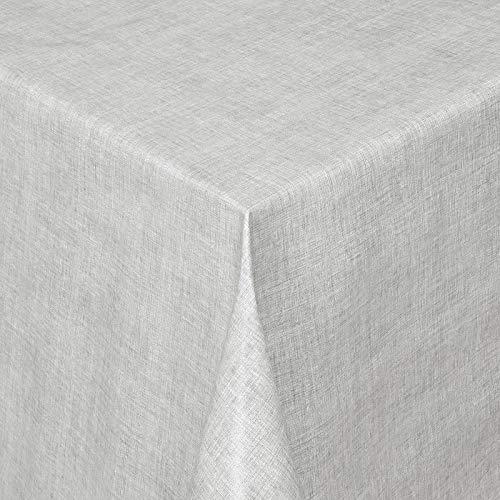 WACHSTUCH Tischdecken Wachstischdecke Gartentischdecke, Abwaschbar Meterware, Länge wählbar, Leinenoptik Grau (127-04) 220cm x 140cm