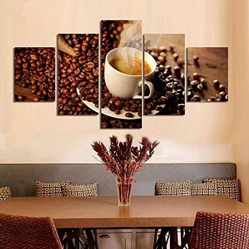 EWJHB Leinwanddrucke Bild Auf Duftender Kaffee Küchencafé 5 Leinwandbilder Hd Gedruckt Moderne Malerei Auf Leinwand 5 Panel Modulare Bild Wandkunst Wohnkultur Schlafz 59 X 31 Zoll Rahmenlose Malerei