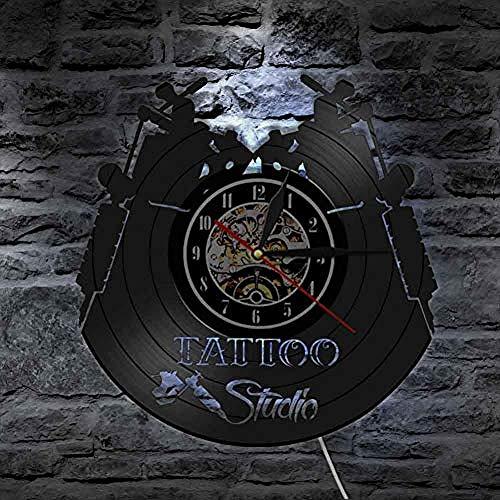 ClockHM Wanduhr Scheibe Vinyl Tattoo Studio Vintage Design leuchtende Wanduhr Tattoo Salon Wandkunst Tattoo Studio Innenraum Dekor Tätowierer Geschenk @ 7_Led_Color_Change
