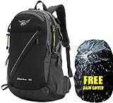Meisohua 40L Wanderrucksack – wasserabweisender Reiserucksack mit Regenschutz Camping Rucksack mit USB-Anschluss Outdoor Bergsteigen Trekking Rucksack für Damen und Herren – Schwarz