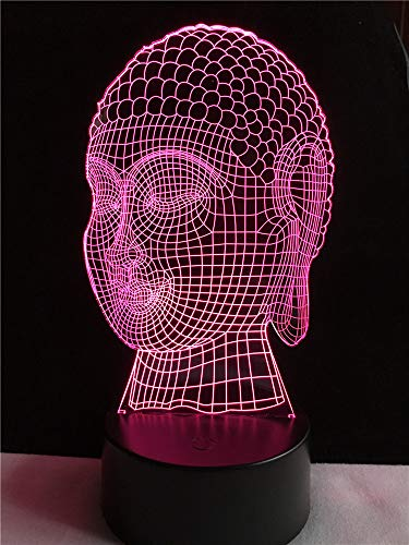 Nur 1 kreative 3D-Lampe Religon Respekt Buddhismus Buddha Beleuchtung Freund Geschenk LED Stimmungsschalter Nachtlicht Multicolor Schreibtisch Tischdekoration