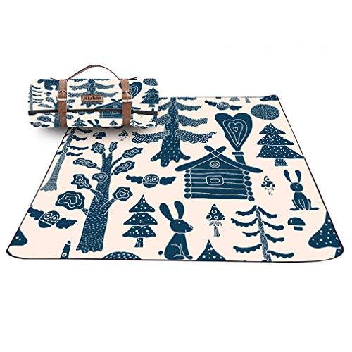 X-Labor Kinder Lustig Picknick Decke 200x200 cm Leder Gurt mit wasserdichter PEVA Unterseite Outdoor Stranddecke Campingdecke Motiv-A