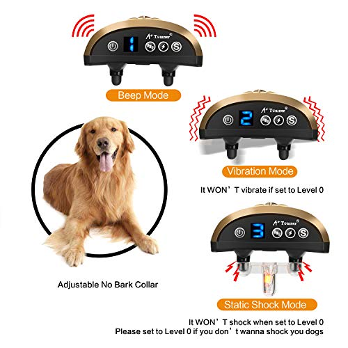 Dog Bark Collar, Waterproof Dog Training Collar, 3 Stop Anti Barking Modes [Beep, Vibration, and Shock], Anti Bark Collar Rechargeable for Small/Medium/Large Dogs