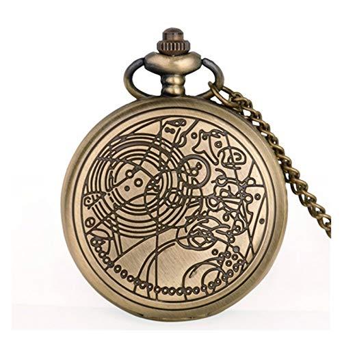 Shop-PEJ Antique Movie Theme Pocket Watch Bronze Quartz Pendant Clock Gift Men Women Kids Fob Watch for Husband on Anniversary (Color : BRONZE)