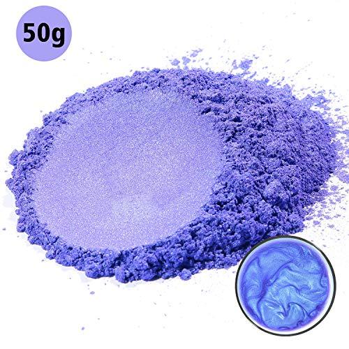 MOSUO Pigments Poudre de Mica,50g Violet Colorant de Savon, Pigment Resine Epoxy Pailletées Naturel Minerale pour Bougies, Boules de Bain, Cosmetiques, Vernis à Ongles et Peinture