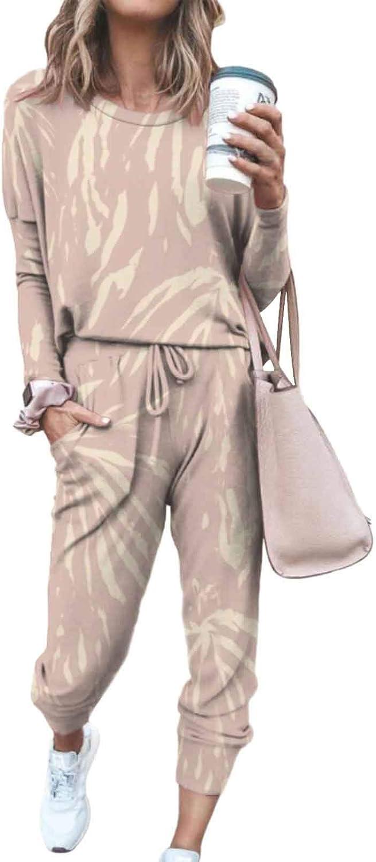 AOHITE Women's 2 Piece Tie Dye Sweatsuit Pullover Shirts And Drawstring Sweatpants Set