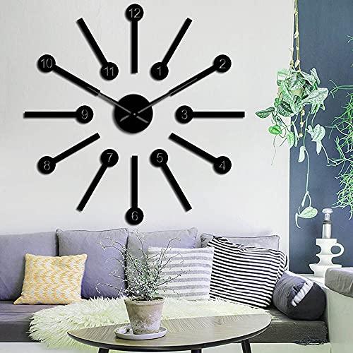 Rgzqrq Creativo Redondo sin Marco Digital 3D DIY Reloj de Pared silencioso Etiqueta engomada del Coche con Efecto Espejo acrílico Etiqueta Digital Reloj 37 Pulgadas