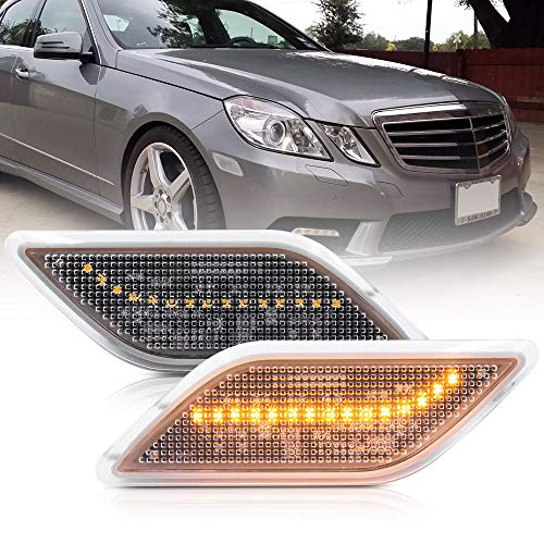Clear Lens Amber LED Front Bumper Side Marker Light Kits for 2010-2013 Mercedes-Benz W212 E-Class Pre-LCI E350 E550 E63 AMG Sedan/Wagon Driver Fender Turn Signal Sidemarker Lamps Replacements