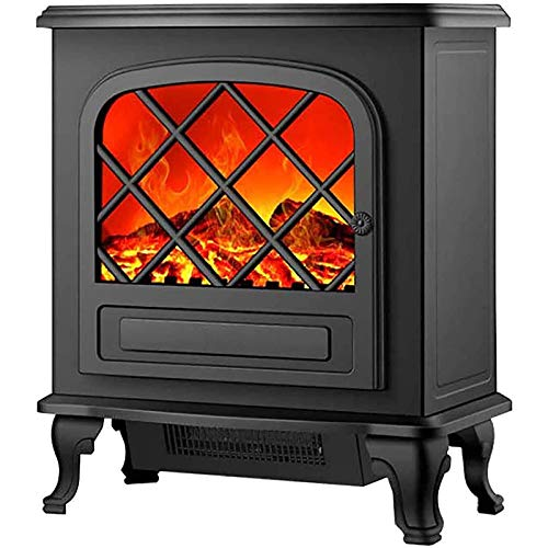 SHHYD 2000W Heizpilz, Haushaltsklein Elektro-Kamin, Durchlauferhitzer, LED Flammeneffekt Feuer Log Brenner-Ofen, Innen Heizung Mit 3D Realistic Flamme