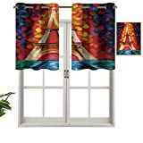 Hiiiman Cortina de ventana con ojales de filtrado de luz, cenefa superior de París Francia, Romántico, juego de 1, 137 x 45 cm para ventanas, dormitorio, cocina o baño