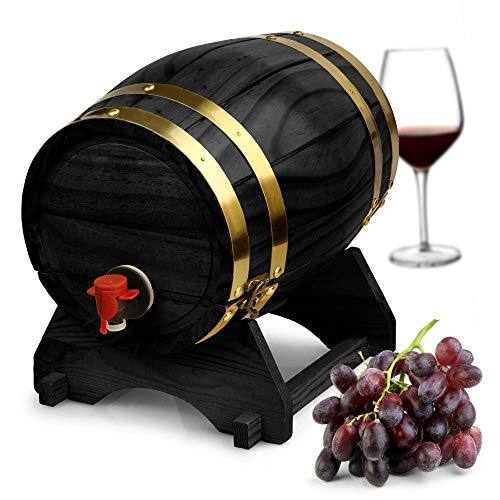 Madera vino barril dispensador negro pino 5litros–estilo vintage de mesa dispensador de vino