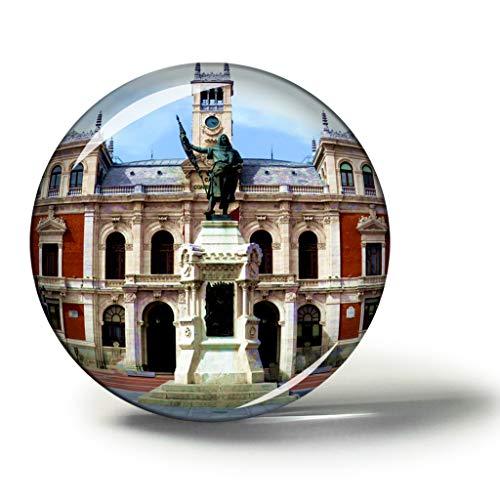 Hqiyaols Souvenir Plaza Mayor de España Valladolid Imanes Nevera Refrigerador Imán Recuerdo Coleccionables Viaje Regalo Circulo Cristal 1.9 Inches