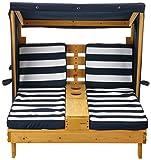 KidKraft 524 Outdoor 2er Lounge Sonnenliege aus Holz mit Getränkehalter – Gartenmöbel für Kinder – dunkelblau & weiß - 2