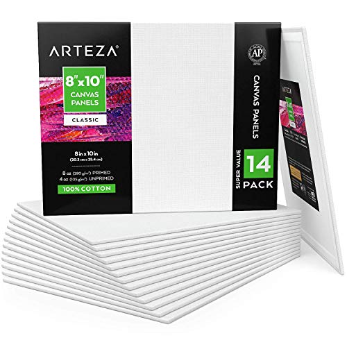 Arteza Canvas Boards for Painting 8x10, Set of 14, Primed White Canvas Panels for Acrylic, Oil, Other Wet or Dry Art Media, for Artists, Hobby Painters, Kids