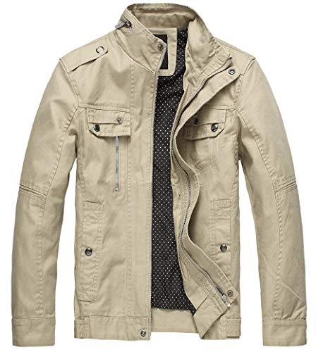 Wantdo Men's Cotton Casual Fall & Winter Windbreaker Jacket Khaki,Large