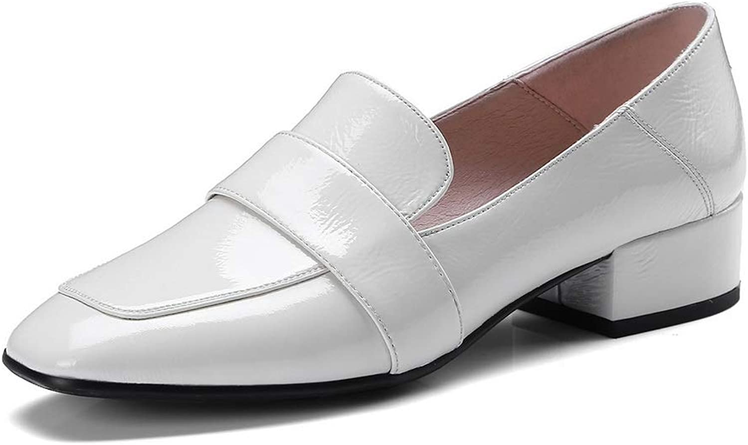 AN Womens Chunky Heels Patent-Leather Pumps shoes DGU00900