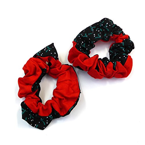 Rougecaramel - 2 élastiques chouchou cheveux imprimé rouge/noir