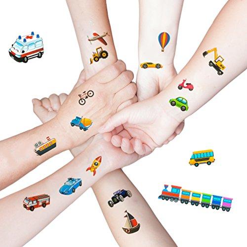 Oblique Unique® 36 Bunte Fahrzeuge als temporäre Tattoos für Kinder Jungen Geburtstag I Bagger Auto Boot Schiff Rakete