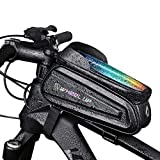 BinZanon, borsa per telaio della bicicletta, borsa per tubo superiore per mountain bike, impermeabile, con touch screen ad alta capacità, con paraluce e foro per cuffie, per cellulari fino a 7 pollici