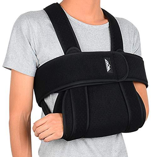 supregear Arm Sling Shoulder Immobilizer, Adjustable Comfortable Shoulder Arm Immobilizer Sling Swathe Breathable Shoulder Support Brace for Injured Arm Hand Elbow, Black