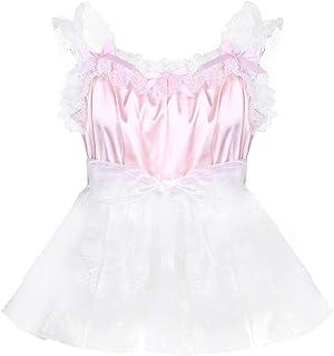 Kaerm Mens Sissy Satin Frilly Floral Lace Dress Crossdressing Lingerie Tutu Skirted Pajamas
