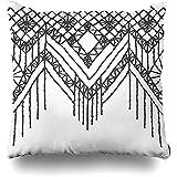 xububaihuodian Funda de cojín Realista con diseño de Flores de macramé Indio, diseño de Crochet, Diamantes Americanos, decoración del hogar, Cuadrada, 45,7 x 45,7 cm, diseño de Estampado