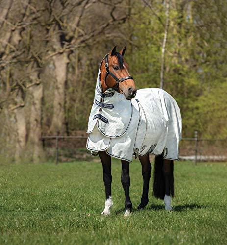 RAMBO Horseware Optimo Supreme Sommer-Decke, Abnehmbarer Hals, Pferdedecke, 84 2,1 m, Marineblau/Weiß/Beige
