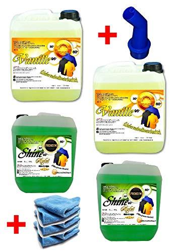 NM Shine 4X 5 Ltr. Flüssigwaschmittel PE 1,25 € = 1 Ltr. Set 2X Vanille / 2X Apfel + 4 Mikrofasertücher Flüssigwaschmittel Waschmittel Waschgel