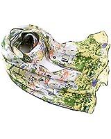 Prettystern Women Green lang Silk Scarf Gustav Klimt Printing Art Nouveau for Casual & Business -