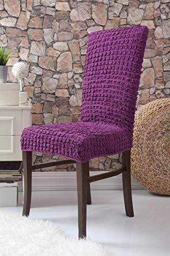 Mixibaby Fiora Stretch Stuhlhusse Stuhlbezug Elastische Husse Dekoration Stuhl Husse aus Elastik-Stoff für universelle Passform, Farbe:violett