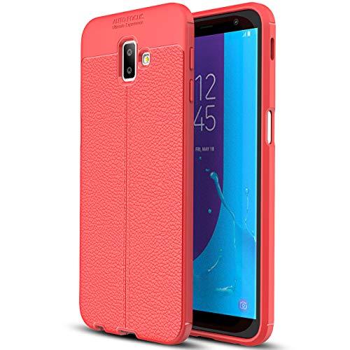 SCIMIN Capa para Samsung Galaxy J6 Plus (2018), capa de couro sintético para Galaxy J6 Plus (2018), capa macia de TPU antiderrapante para Samsung Galaxy J6 Plus de 6 polegadas (2018)